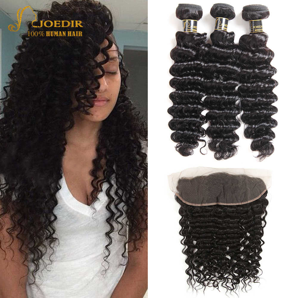 Brazilian Deep Wave Hair Bundle With Closure 28 Inch Non Remy Bundles With Closure Weaves Human Hair With Closures Joedir Hair