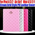 Smart Case For IPad Air/Air2 For iPad mini 4/3/2/1 Fashion Crown Grid Style PU Leather Cover for iPad 4/3/2 IM411