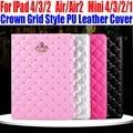 Smart case para ipad air/air2 para ipad mini 4/3/2/1 moda corona estilo de cuadrícula de la pu cubierta de cuero para ipad 4/3/2 im411
