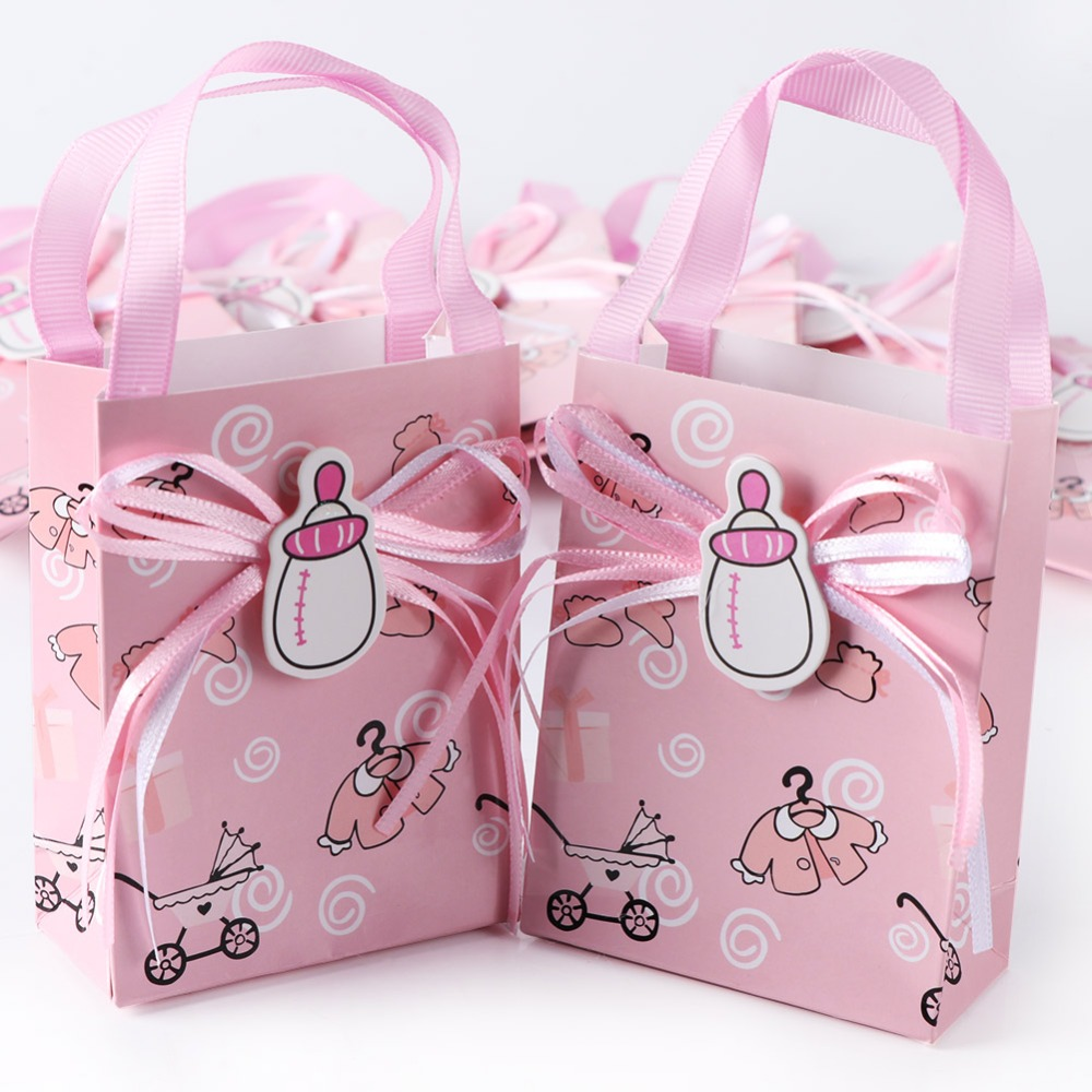 OurWarm 36pcs Babyshower Girl Boy Cake Packaging Paper Bags With Handles Chocolate Box Cookie Bag Candy Bar Decoration