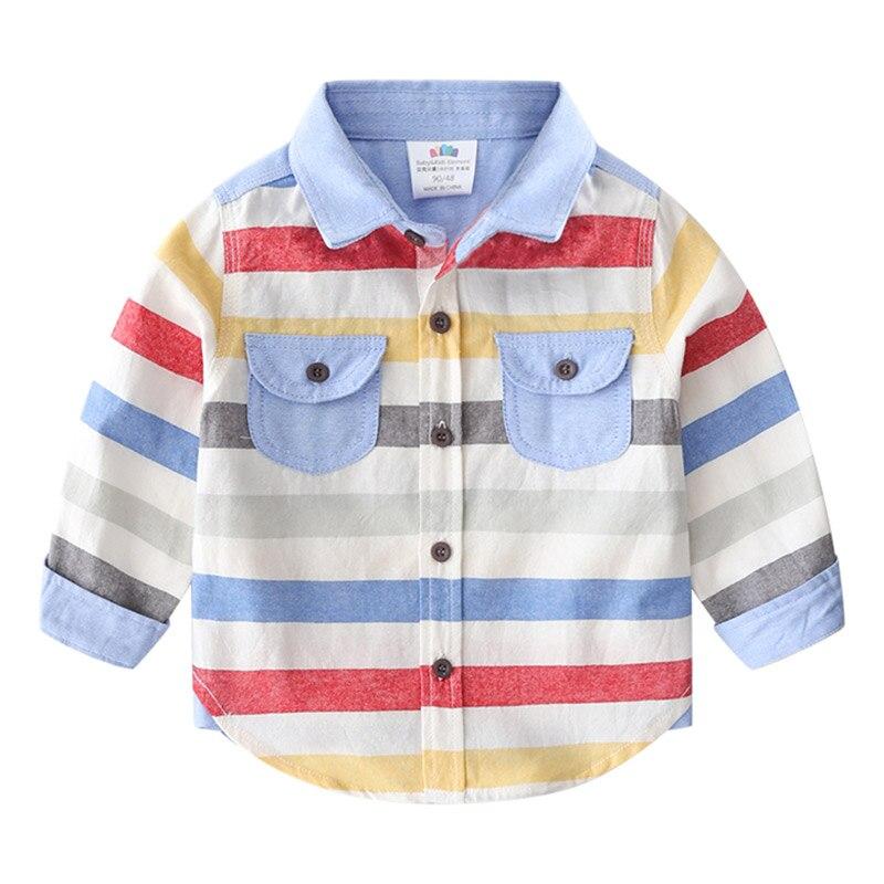 Детская хлопковая рубашка с длинным рукавом, на возраст 2-8 лет