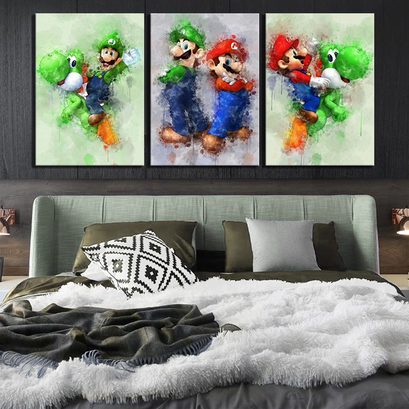 3 Piece Super Smash Bros Game Poster Picture Super Mario Cartoon Pictures Abstract Art Canvas Paintings for Home Decor Wall Art 3