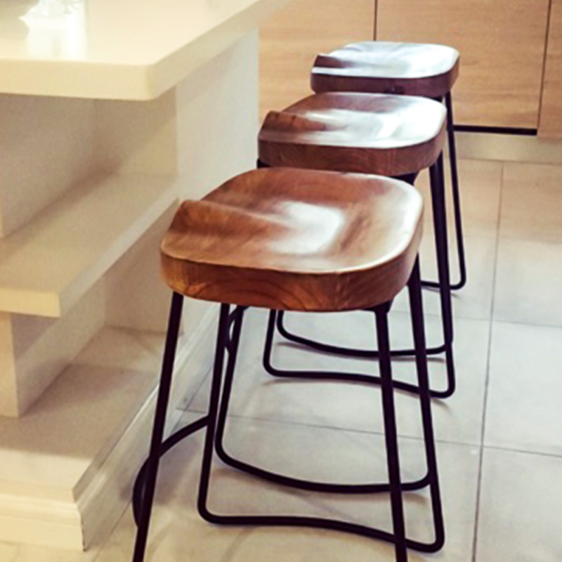 Modern Home Iron Wood S Bar Chair Stool Fashion Cafe Bar Stool