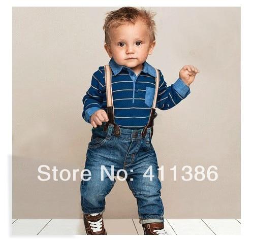 SY050 Envío libre de los niños ropa set baby boy mameluco de algodón a rayas + pantalones de jean 2 unids traje de mezclilla para niños ropa al por menor