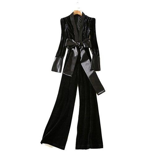 Nouvelle Longues American Larges Col Jambes Multi Noir Combinaisons À Arrivée V Automne Manches Style Femmes Solide Velours Longue rrqwtzpn
