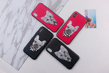 luxury Handmade embroidery 3d Animal Patterned Gog Cat case for iphone X girl phone cases iphoneX cover capa
