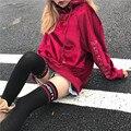 Streetwear HARAJUKU Letras de Veludo Bordado Decote Rendas Até Oversize Camisolas de Lã Pullover
