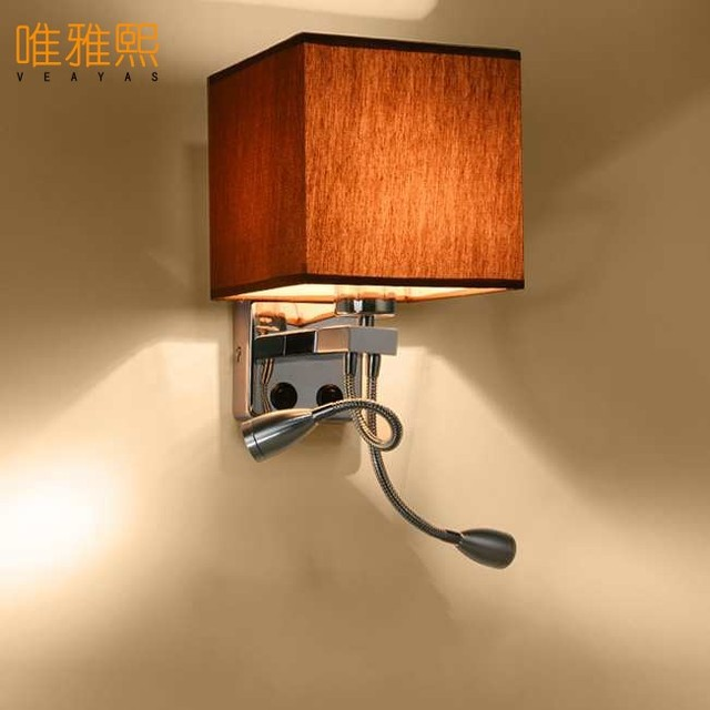 Modern brief mirror bedside wall lamps 1w led reading light lamp ...