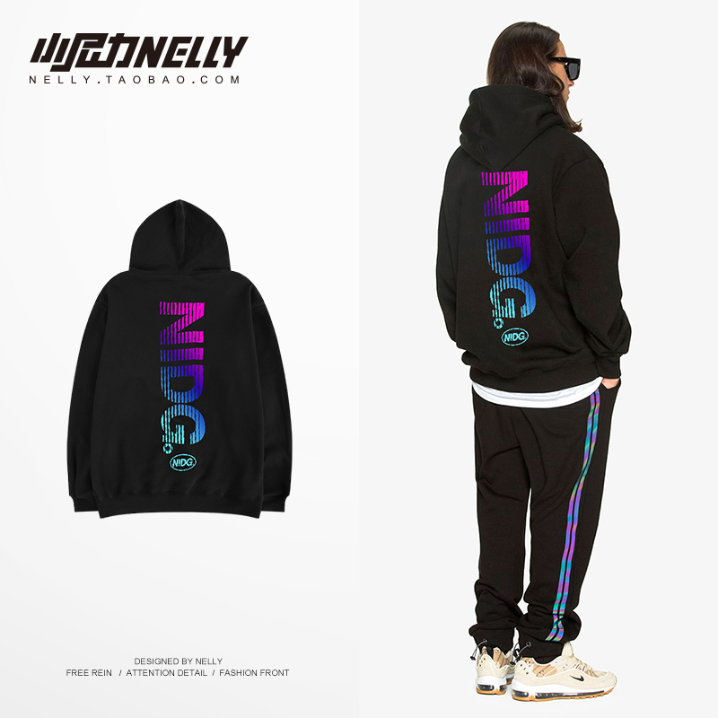 NELLY 2019 Autumn Winter Color Letter Hoodie Casual Hat Top Fashion Youth Unisex Streetwear Men's Brand Design England(China)