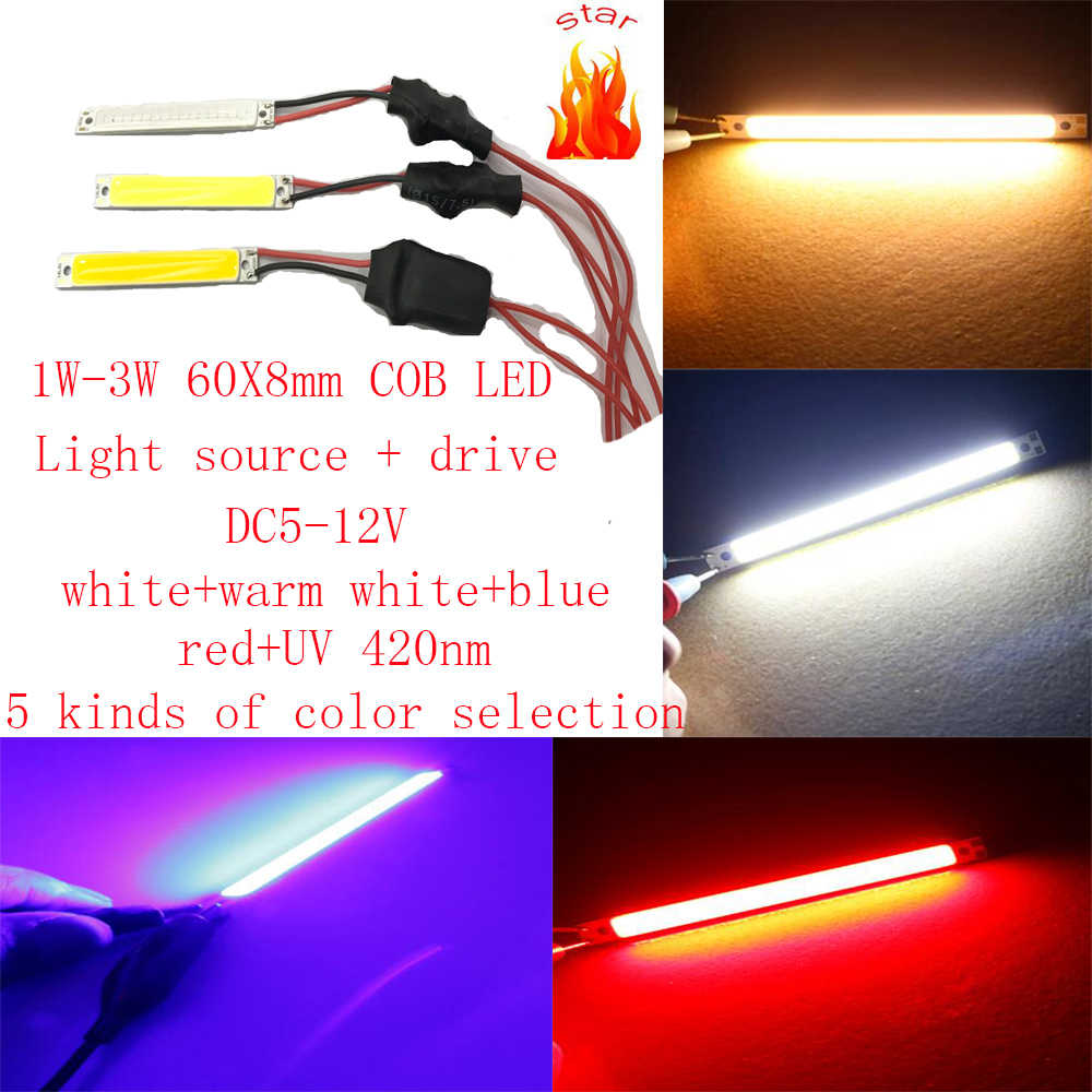 5PCS 10PCS 60X8mm COB LED DC5V-DC12V white-warm white-Blue-Red-purple UV 420nm DIY night lamp lighting, auto light