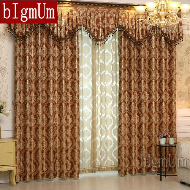 Luxury Window Curtains+Valance For Living Room/Bedrooms /Jacquard Curtains  For Home Furnishing