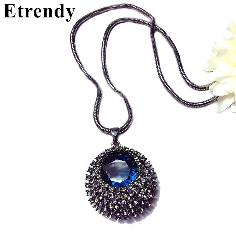 Vintage blue crystal long pendant necklace women bijoux classic vintage blue crystal long pendant necklace women bijoux classic fashion jewelry sweater necklaces cute gift aloadofball Gallery