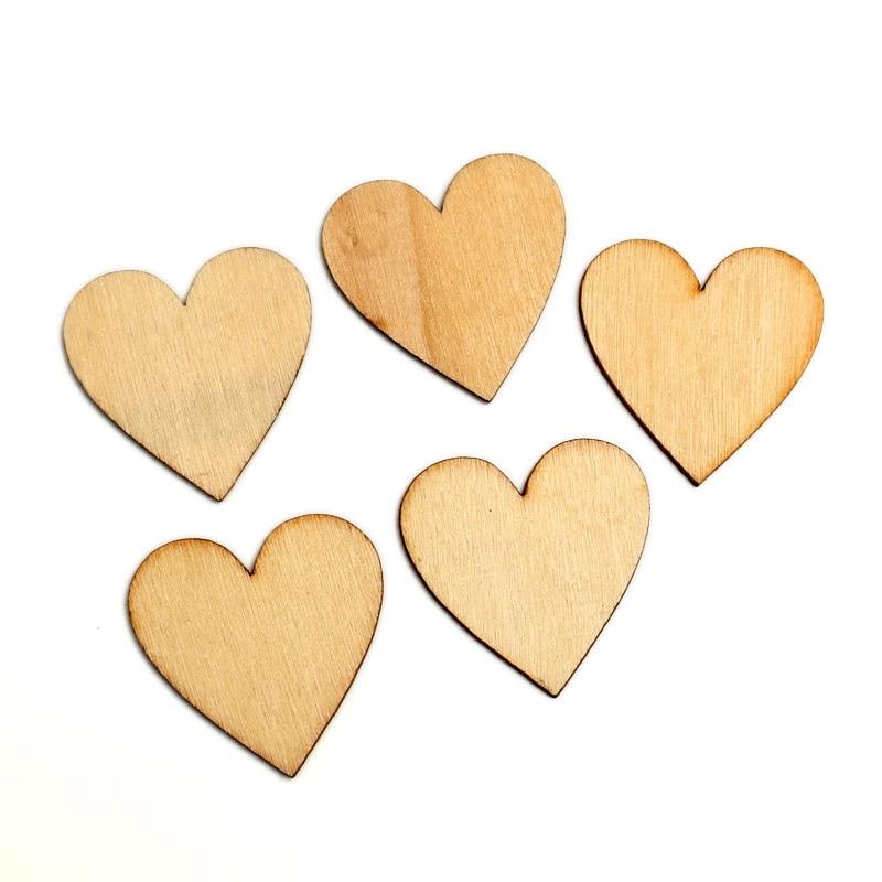 Hot 50Pcs Wooden Love Hearts Shapes Embellishments Heart Plain Craft JS