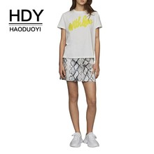 купить HDY Haoduoyi Short Sleeve Tees Letter Print T-shirt Summer Women Bow O-neck Sweet Tops Wholesale Free Shipping дешево