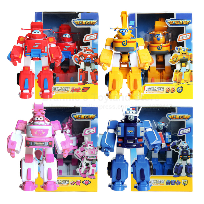 Super Wings Robot Kit Transformation Fire Truck Super Wing Deformation Airplane Action Figures Toys Cars 17cm