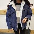 Nova fêmea Coreano Fino de algodão mais jaqueta de veludo selvagem parágrafo curto Casaco de outono e inverno de espessura cordeiros casaco de lã denim