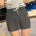 2016 Verano Nuevo Coreano de Rayas Pantalones Cortos de Mujer Pantalones Cortos de Cintura Elástica Yardas Grandes pantalones Anchos de La Pierna Ocasionales Corto SUERTE 731
