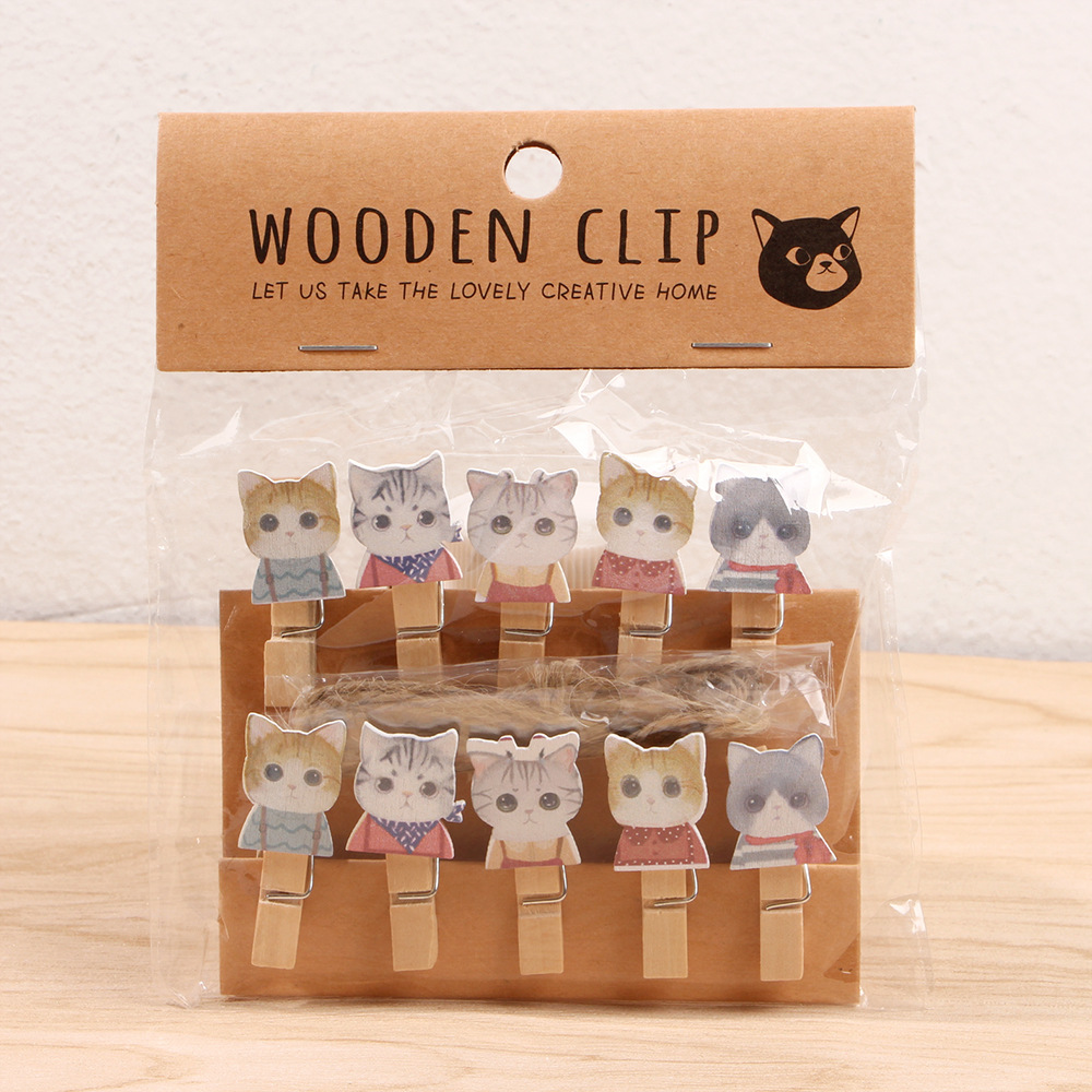 10 Pcs/Lot Kawaii Clever Cat Wooden Clip Photo Paper Clothespin Craft Clips Party Decoration Clip With Hemp Rope