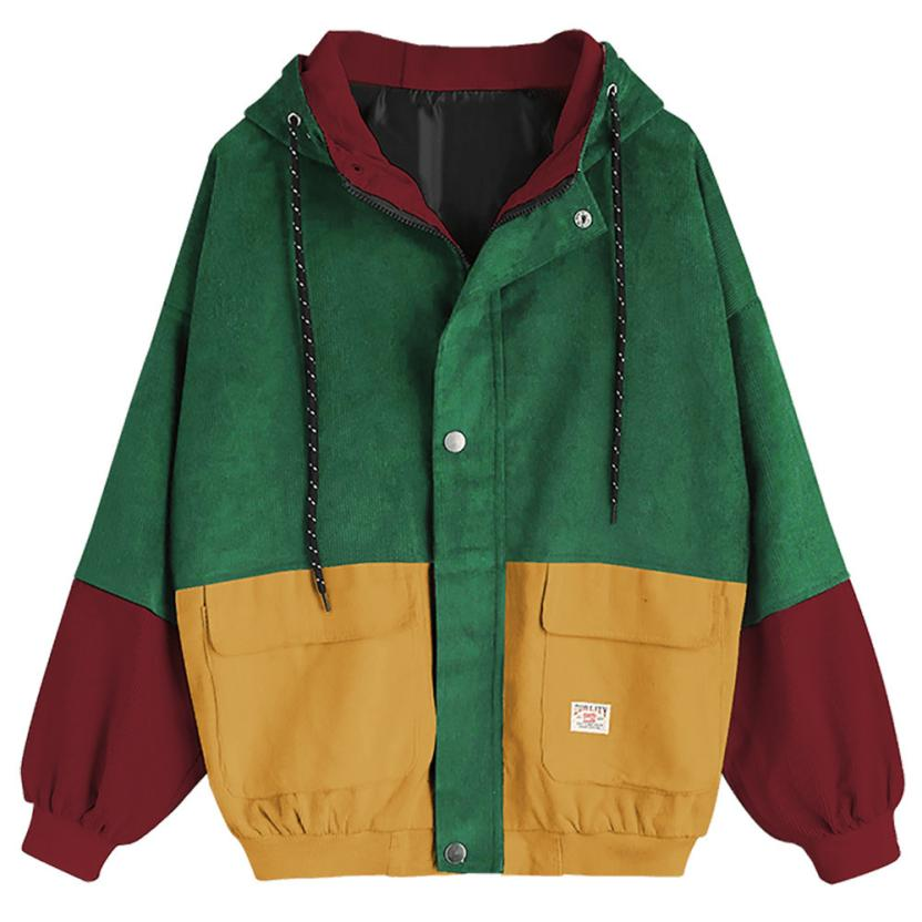 Long Sleeve Corduroy Patchwork Oversize Zipper Jacket Windbreaker coats and jackets women 44