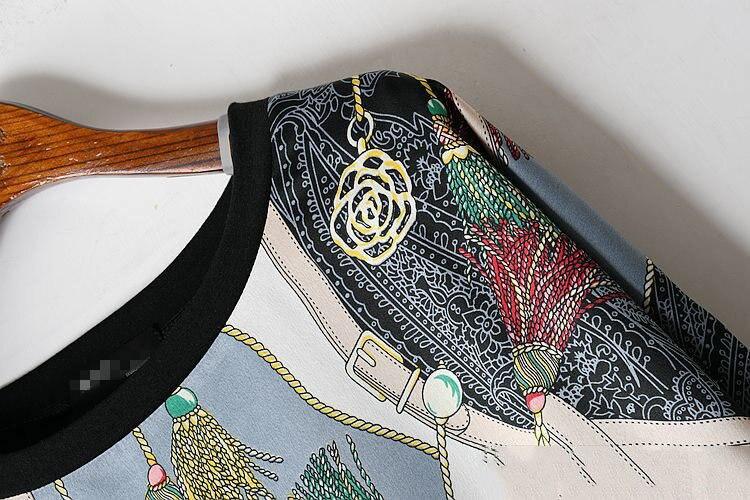 Long Women Europe Fashion 2019 Spring Summer O-neck Short Sleeve T-shirt Female Patchwork Casual Irregular Tee E470 11