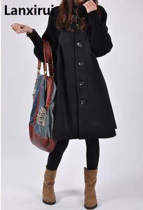 Image 2 - امرأة واحدة الصدر طويلة الأكمام الصوفية معاطف سيدة عادية ألف خط معاطف طويلة الشتاء الدافئة أبلى