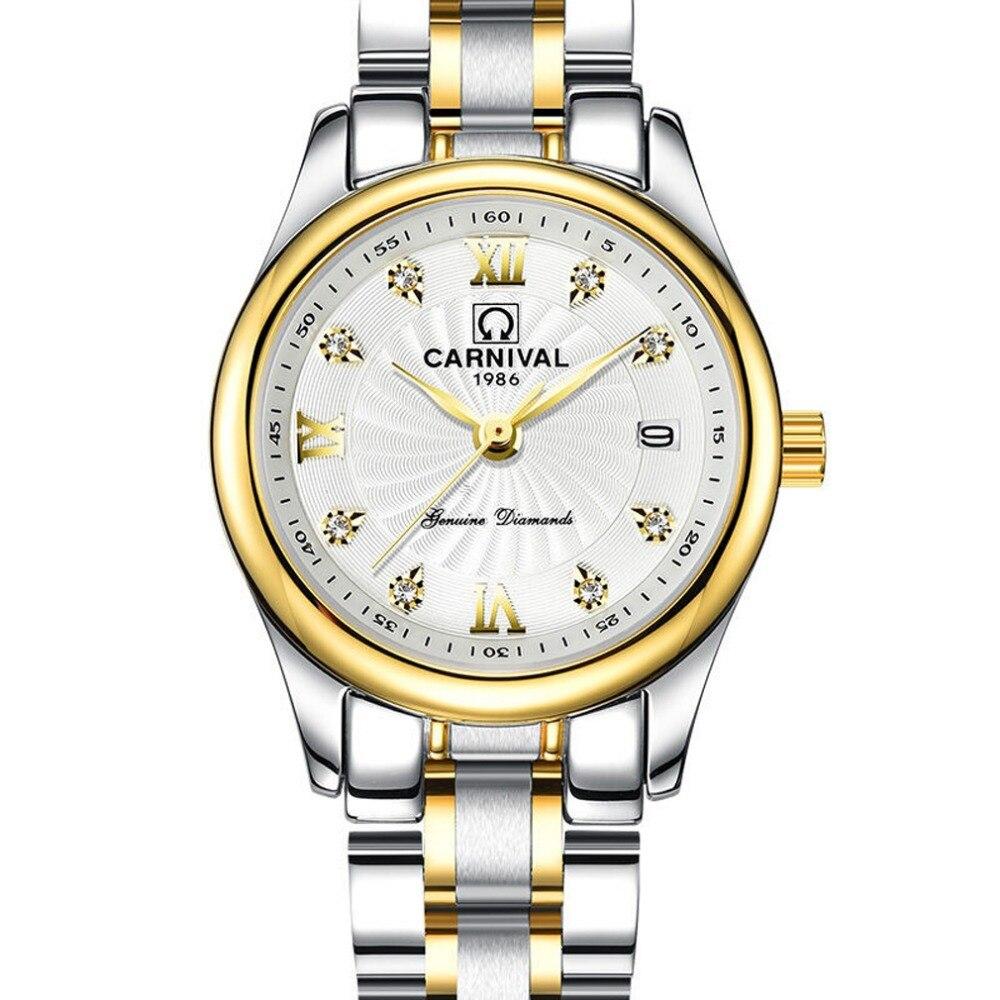 Карнавальный женский модный деловой водонепроницаемый стальной ремешок для часов кварцевые часы наручные часы Золотой корпус белый цифер