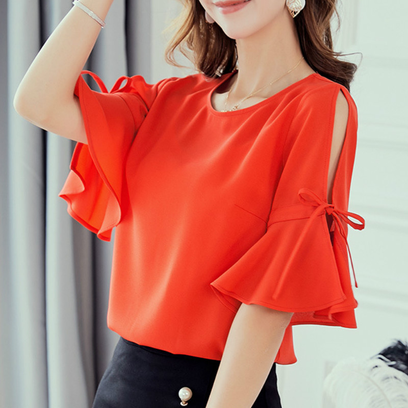 Korean Womens Blouses Office Casual O Neck Flare Sleeve Off Shoulder Slim Shirts Summer Blouse 2019 Streetwear Red Top Blusas