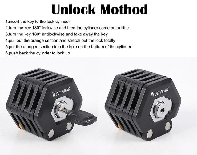 WEST BIKING rower składany zamek duże bezpieczeństwo zabezpieczenie przed kradzieżą blokada rowerowa akcesoria rowerowe stop stali blokada do roweru MTB z 3 kluczami