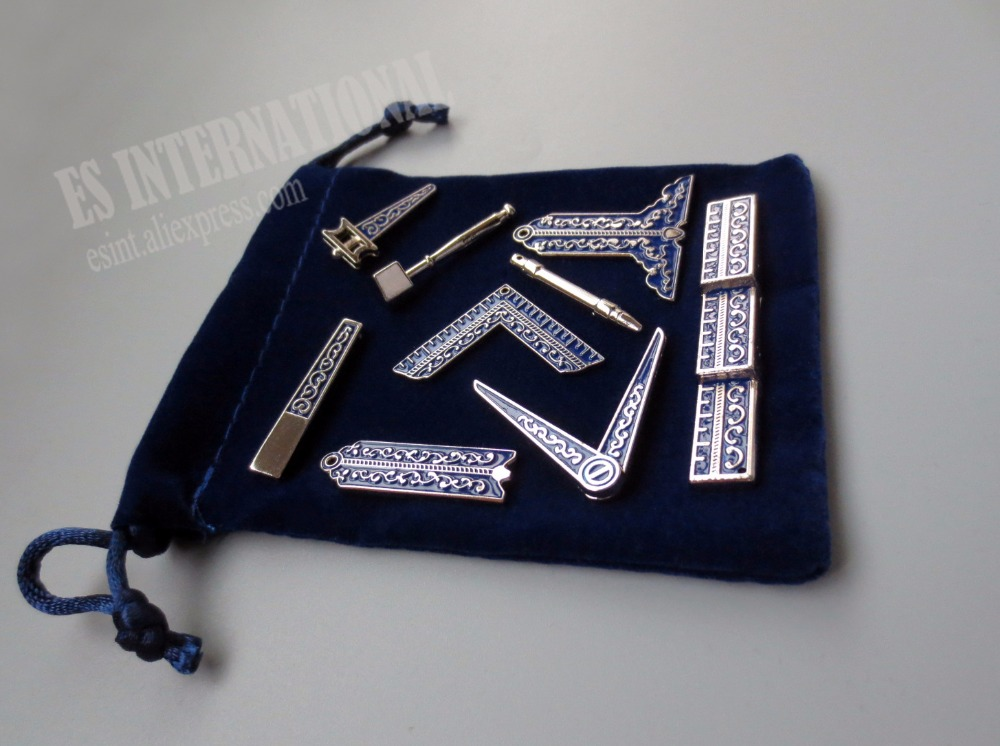 Set Of 9 Different Blue Masonic Working Tools Badge With Velvet Bag Mason Freemason Miniature Freemason Gifts