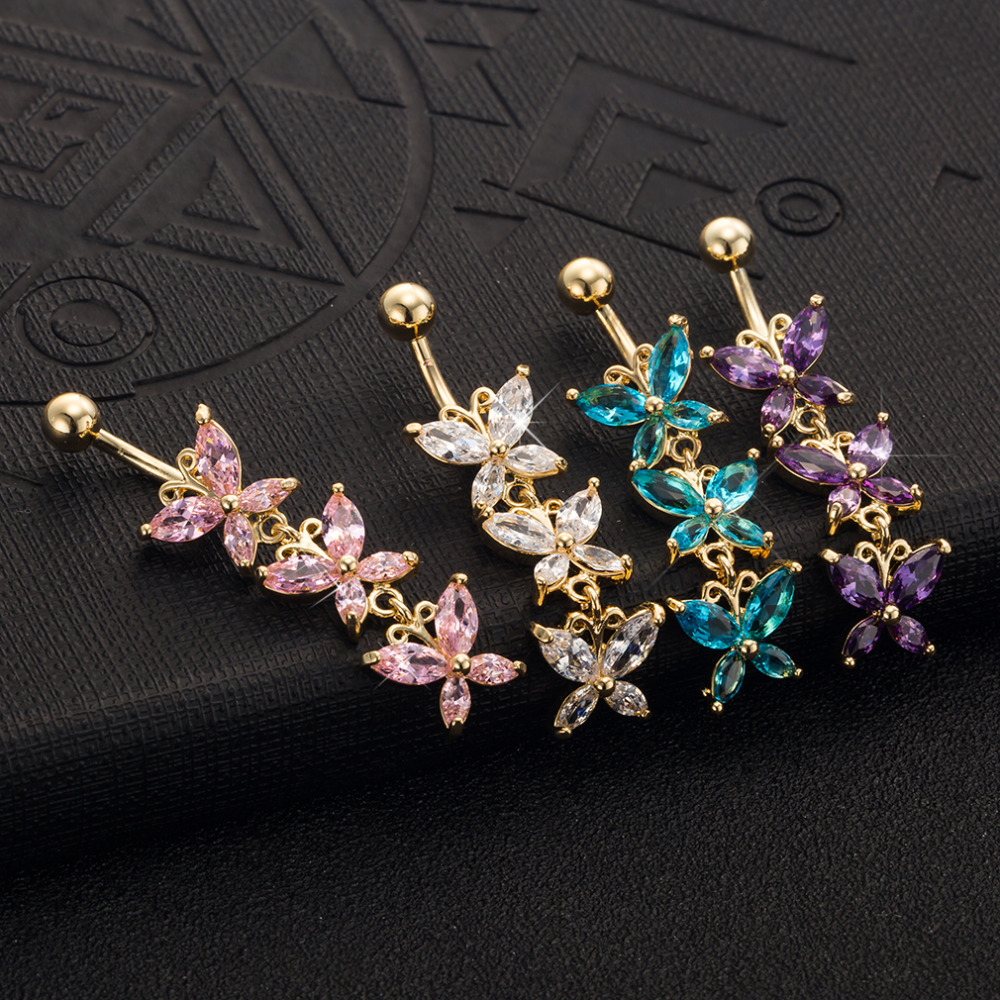Hot Cross Clear Pink Purple Cubic Zirconia Gold-color Belly Button Pusaran Menindik Badan Barang Kemas Navel Belly Penghantaran Percuma