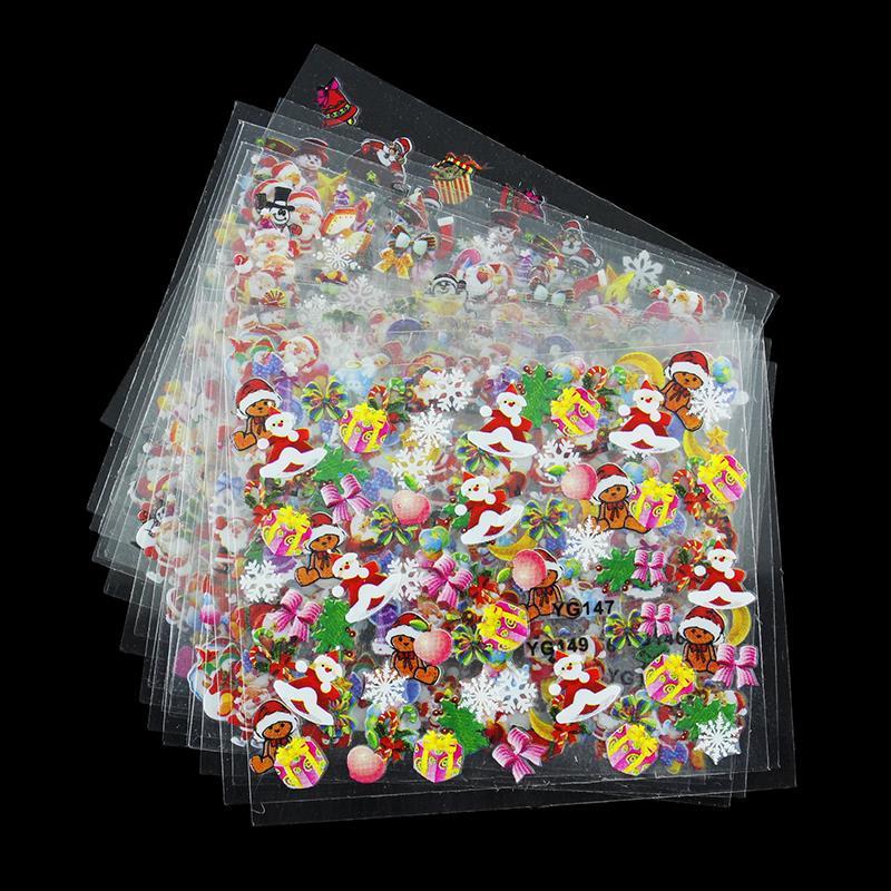 24 Diseños/Lot Belleza Estilo de Navidad Etiquetas Engomadas Del Clavo 3D Nail A
