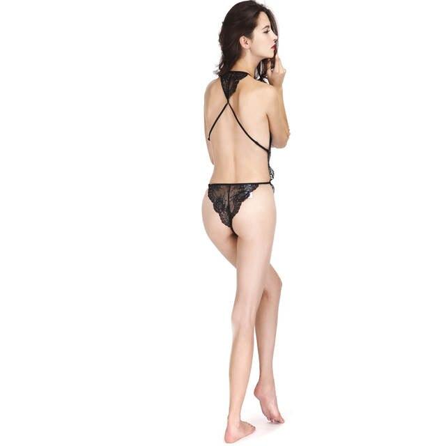 e77ef2492d COLLEER Sexy Lingerie Lace Bralette Push Up Bra Set of Underwear Women  Transparent Plunge Nightwear Halter