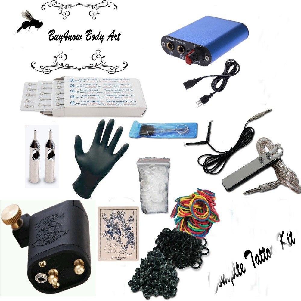 Tattoo Kit BEGINNER Rotary Tattoo Machine Needle Gun EQUIPMENT ink set tip tattoo accesories FREE SHIPPING beginner tattoo kit power color ink needle tip grips supplies ali ws k302b 1 free shipping