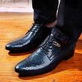 Hombres de negocios de moda de la boda vestido de estampado de serpiente de cuero genuino zapatos casual pisos punta estrecha zapatos oxfords party calzado hombre