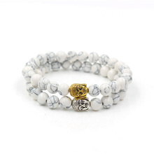 Fashion 8mm white turquoise stone bead antique gold silver Buddha head charm elastic bracelet,new gift jewelry for men and women stylish square fake turquoise bead bracelet for women