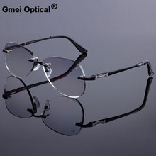 แว่นตากันแดดสไตล์ผู้หญิงRimlessกรอบไทเทเนียมกรอบแว่นตาเพชรตัดRimlessแว่นตาGradient Tintเลนส์