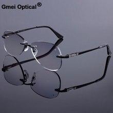 Stile di occhiali da sole Donne Telaio Senza Montatura Uomini Bicchieri In Lega di Titanio Telaio a Diamante Guarnizioni Cut Occhiali Senza Montatura Con Gradiente Tinta Lens