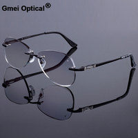 Sunglass Style Women Rimless Frame Men Titanium Alloy Glasses Frame Diamond Trimming Cut Rimless Glasses With