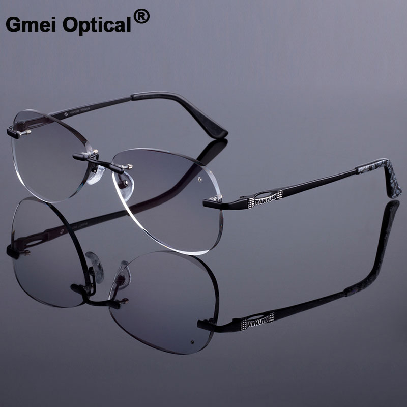 Sunglass Style Women Rimless Frame Men Titanium Alloy Glasses Frame Diamond Trimming Cut Rimless Glasses With Gradient Tint Lens-in Men's Eyewear Frames from Apparel Accessories