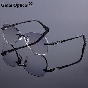 Image 1 - Óculos de sol estilo feminino sem aro quadro masculino liga de titânio óculos quadro corte diamante sem aro óculos com gradiente matiz lente