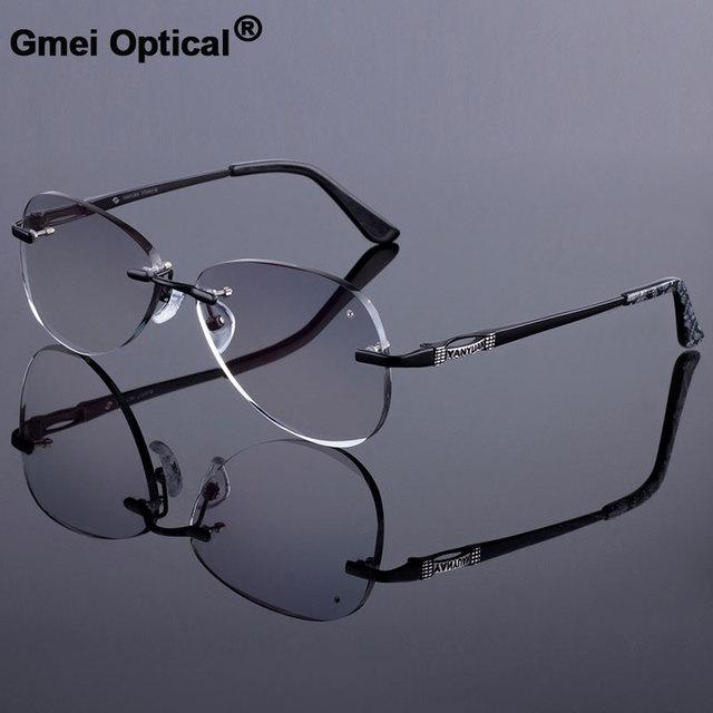 Óculos de sol estilo feminino sem aro quadro masculino liga de titânio óculos quadro corte diamante sem aro óculos com gradiente matiz lente