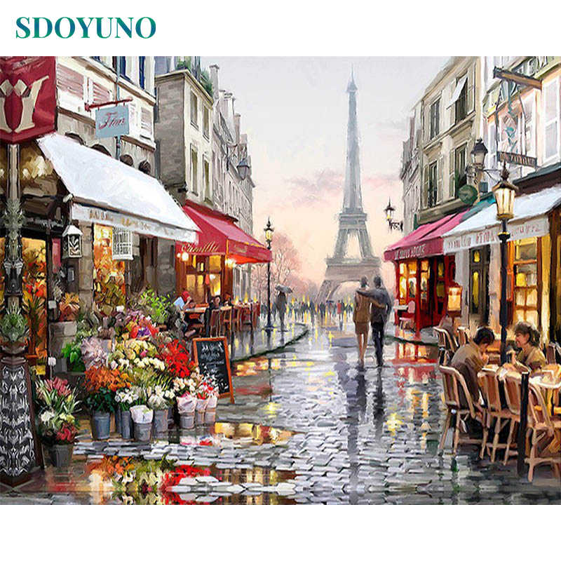 SDOYUNO Frame DIY Painting By Numbers Kits Paris Street Landscape Wall Art canvas pictures by numbers Home Decor 40x50cm