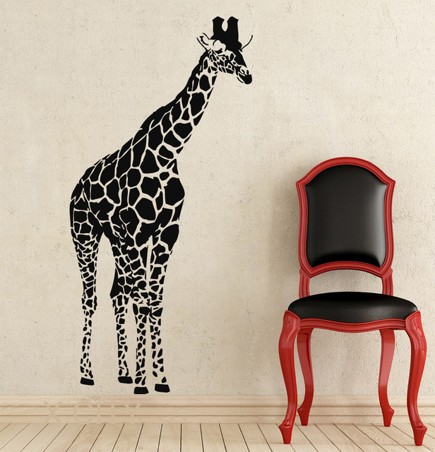 Giraffe African Animals Jungle Safari Wall Decals Tropical Vinyl Sticker Living Room Decor Baby Kids Nursery