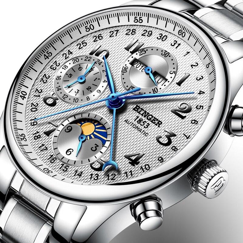 Швейцария BINGER часы для мужчин Элитный бренд несколько функций Moon Phase сапфир календари механические часы B-603-8
