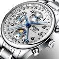 Швейцарские часы BINGER  мужские роскошные Брендовые Часы с несколькими функциями  луной  фазой  сапфиром  календарем  механические наручные ч...