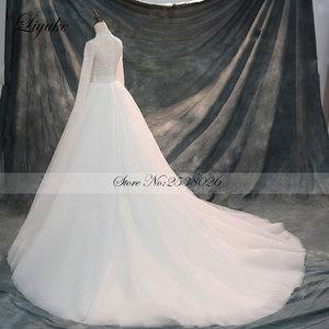 Image 3 - Liyuke Vintage yumuşak tül yüksek yaka tam kollu A Line düğün elbisesi mahkemesi tren boncuk kristaller inciler gelinlik