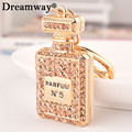 rhinestone perfume bottle keychain key chain bag buckle girlfriend gifts crystal square keyring holder fashion accessories