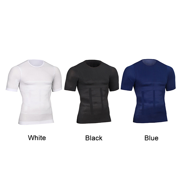 Newly Men Compression Short Sleeve T-Shirt Belly Control Body Build Shapewear Summer Slimming Shaper 19ing