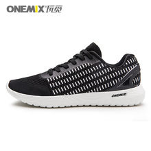 ONEMIX Men Running Shoes Breathable Casual Black Lightweight Sneakers Trainers