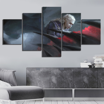 5 Piece HD Fan Art Picture Daenerys Targaryen Game of Thrones Movie Poster Artwork Canvas Paintings Wall Art for Home Decor